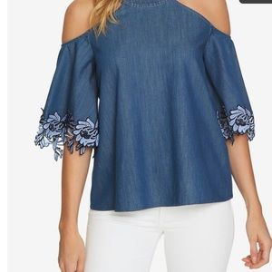 CECE NWT cold shoulder chambray blouse